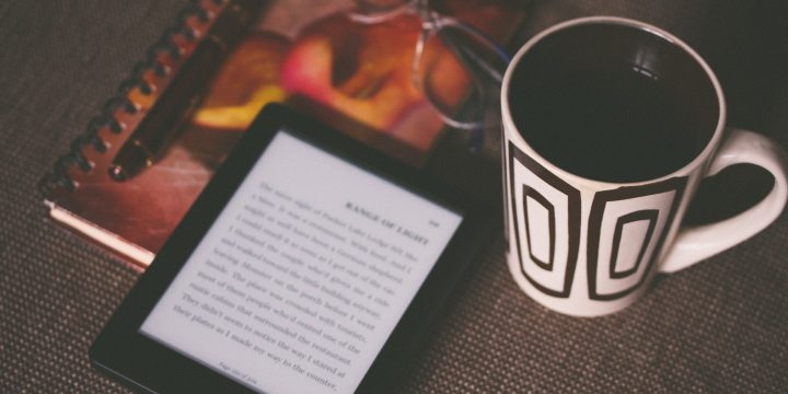 kindle coffee and notebook
